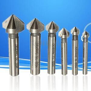 6pcs 3 flute 90° HSS Chamfer Cutter End Mill Drill Milling Cutting Tool Set