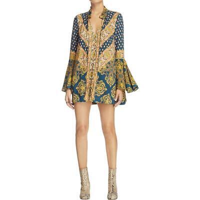 Free People Womens Magic Mystery Navy Printed Casual Dress XXS BHFO 5278