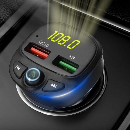 Wireless Bluetooth 5.0 FM Transmitter 2-USB Hands-free Radio AUX Adapter USB Car