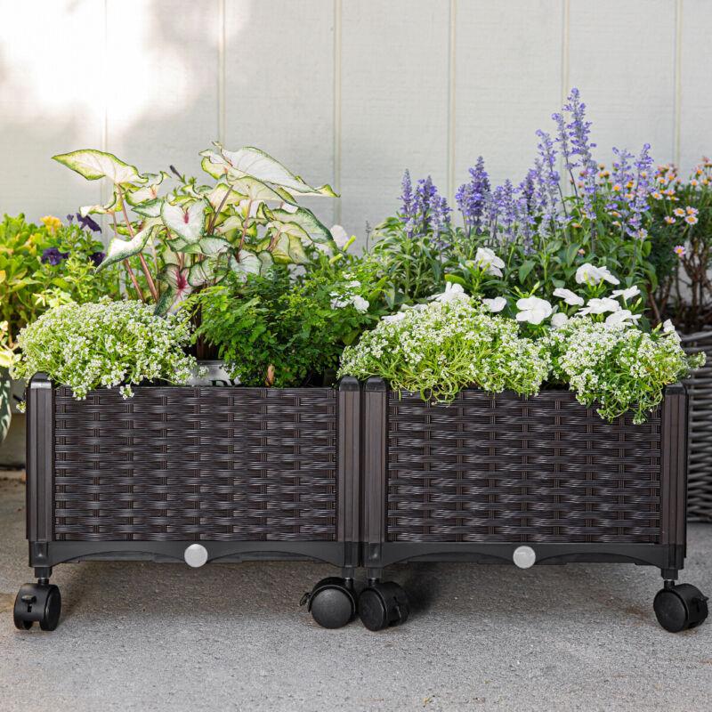 2pcs Raised Garden Bed Elevated Flower Vegetable Herb Grow Planter Box W/ Wheels
