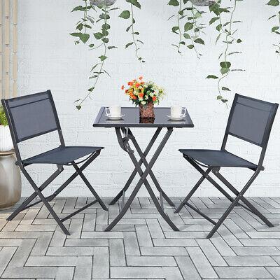 Garden Furniture - 3 Pcs Bistro Set Garden Backyard Table Chairs Outdoor Patio Furniture Folding