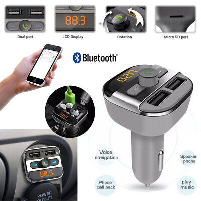Bluetooth Car Kit Wireless FM Transmitter Doppel USB Ladegerät Audio MP3 Player