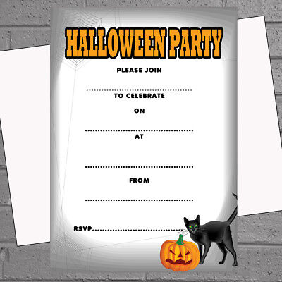 Halloween Party Invitations x 20 A5 with envs Write your own Black cat H1831](Halloween Party Writing)