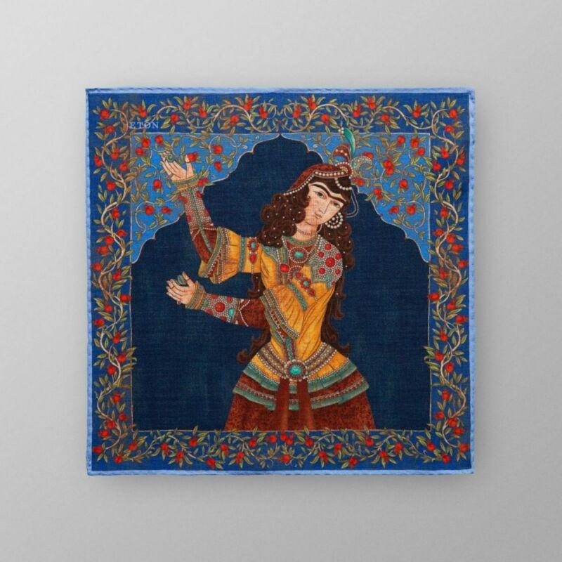 ETON SHIRTS - NAVY PERSIAN LADY PRINT POCKET SQUARE