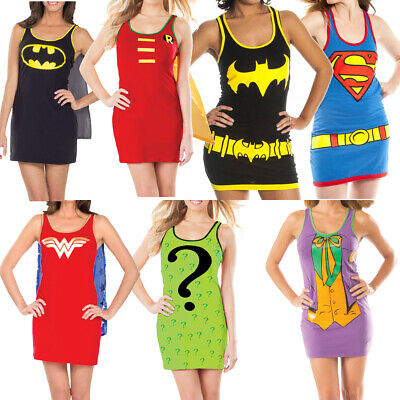 Dc Comics Superheld Damen Trägershirt Kostüm (Wählen Sie Charakter) Sexy Tunika (Superhelden Charakter Kostüme)