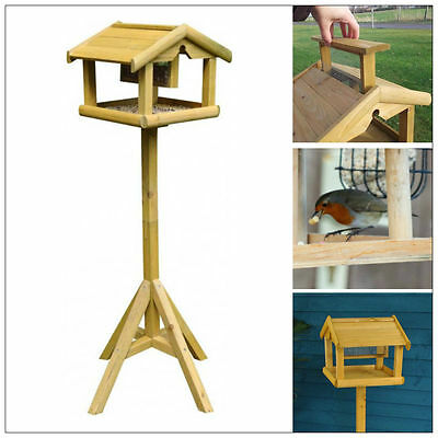 DELUXE WOODEN BIRD TABLE WITH BUILT IN FEDER FREE STANDING BIRD FEDING STATION