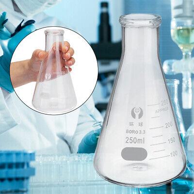 50100250500ml Lab Borosilicate Glass Conical Flask Erlenmeyer Graduated