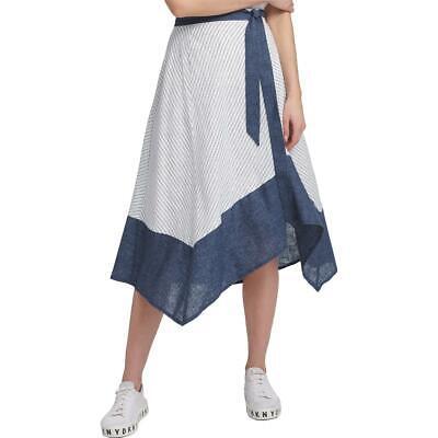 DKNY Womens Asymmetrical Striped Chambray Skirt BHFO 8739
