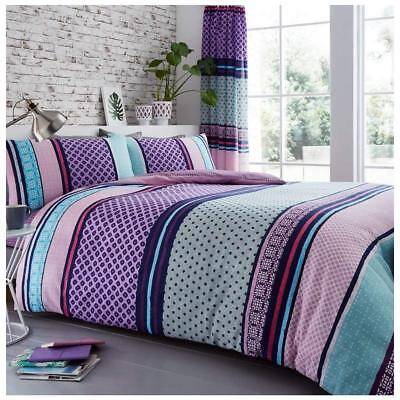 Modern Berries Bedding - Luxury Berry Stripe Double Size Bedding Set Duvet Quilt Cover With Pillowcases