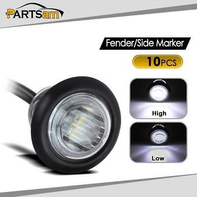 """(10) LED Light 3 Diode White 3/4"""" Grommet Marker Trailer 2 function High & Low"""