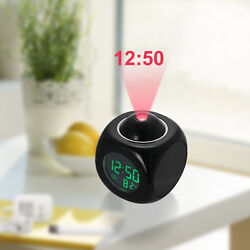 Multi-function Digital LCD Alarm Clock Voice Talking LED Projection Temperature