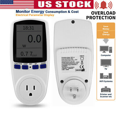Digital Wall Outlet Power Meter Energy Monitor Volt Watt Voltage Amps Analyzer