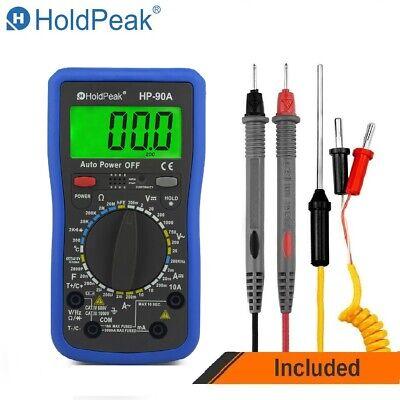 Pro Digital Multimeter Acdc Volt Current Temperature Resistance Cap Tester Us