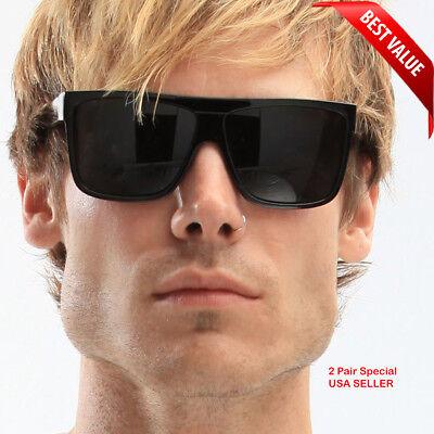MENS Black Flat Top OG Motorcycle Style Sunglass New Super Dark Lens Sunglasses (Mens Sunglass Styles)