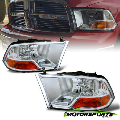 2009-2017 Dodge Ram 1500/10-17 2500 3500 Crystal Chrome Headlights Head Lamps