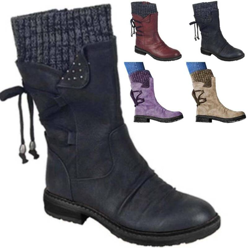 Womens Fleece Ankle Boots Lace Up Ladies Winter Warm Casual