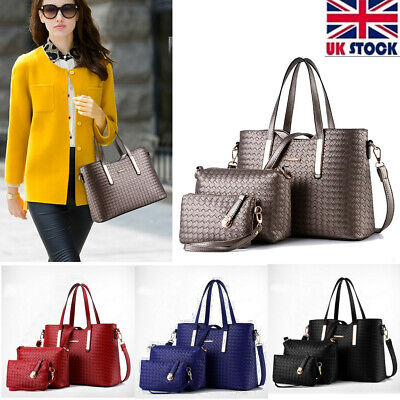 UK 3Pcs Women Leather Handbag Ladies Tote Messenger Satchel Travel Shoulder Bag