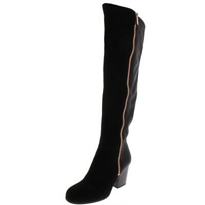 Bar III Womens Black Leather Over-The-Knee Boots Shoes 7 Medium (B,M) BHFO 4923