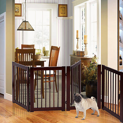 "30"" Configurable Folding Free Standing 4 Panel Wood Pet Dog Safety Fence w/ Gate"