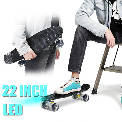 22 Inch Mini Plastic Board Complete Skateboard PU Wheel With LED Lights Cruiser