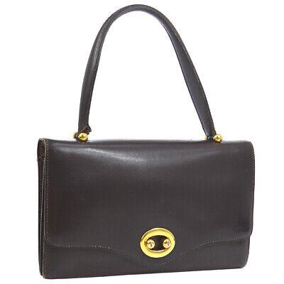 HERMES Vintage Hand Bag Dark Brown Box Calf Purse Authentic AK36826a
