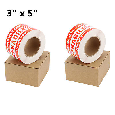 2 Roll 500roll 3 X 5 Fragile Stickers Handle With Care Thank You Shipping Label