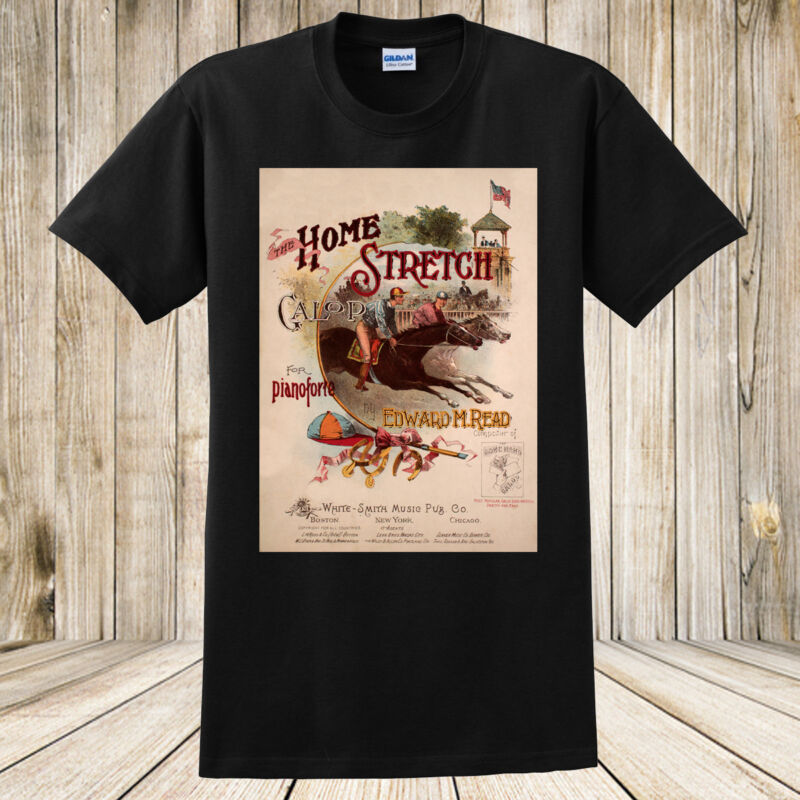 Antique Horse Racing T-Shirt Home Stretch Galop 1800