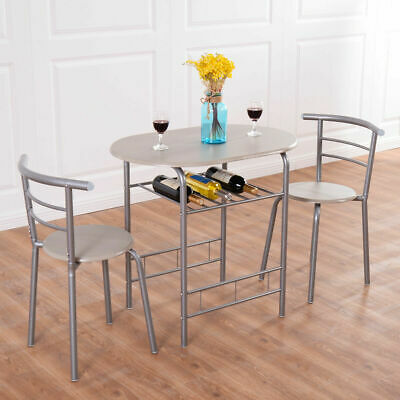 3 Piece Dining Set Table 2 Chairs Bistro Pub Home Kitchen Breakfast Furniture ()