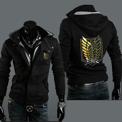 Attack On Titan Jacket Male (Anime Attack on Titan Sweatshirt Coat Men's Fit Hoodie Male Top)