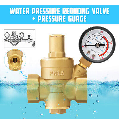 34 Water Pressure Regulator Brass Adjustable Reducergauge Lead Free Pn 1.6