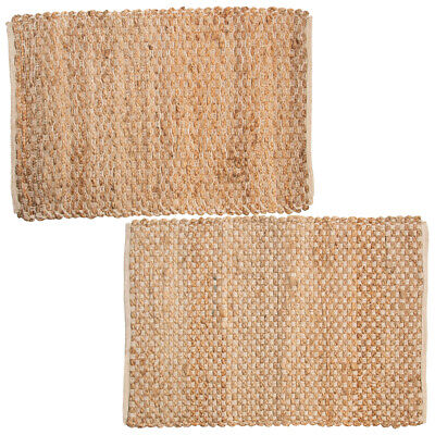 Jute Cotton Blend Rug 2x3 Natural Hand Woven Home Décor Kitchen Living Room Traditional Patio Rug