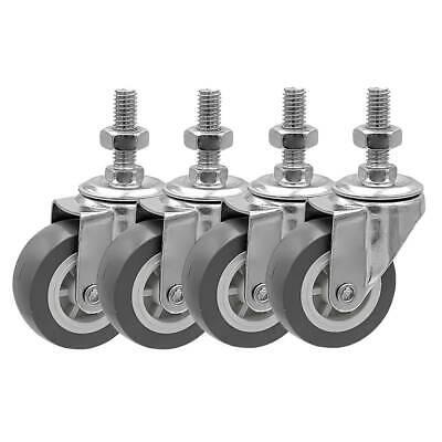 4 Pack 2 Inch Stem Casters Swivel No Brake Grey Pu Caster Wheels