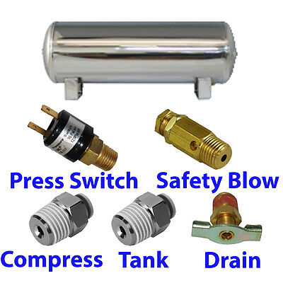 3 Gallon STAINLESS Air Tank 5 port train horn  air suspension WITH all fittings