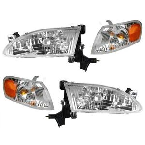Headlights Headlamps & Corner Parking Lights Kit Set for 98-00 Toyota Corolla