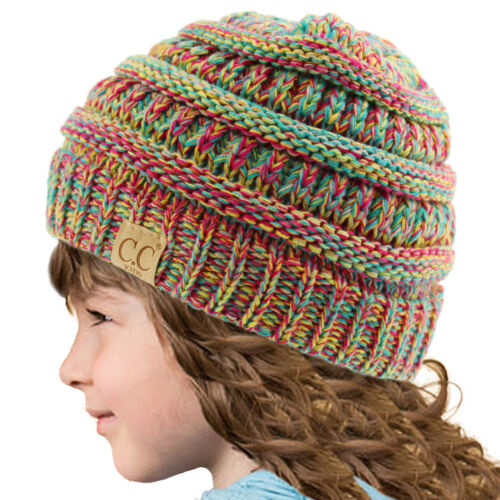 Kids CC Ages 2-7 Quad Color Chunky Thick Stretchy Knit Slouch Beanie Hat