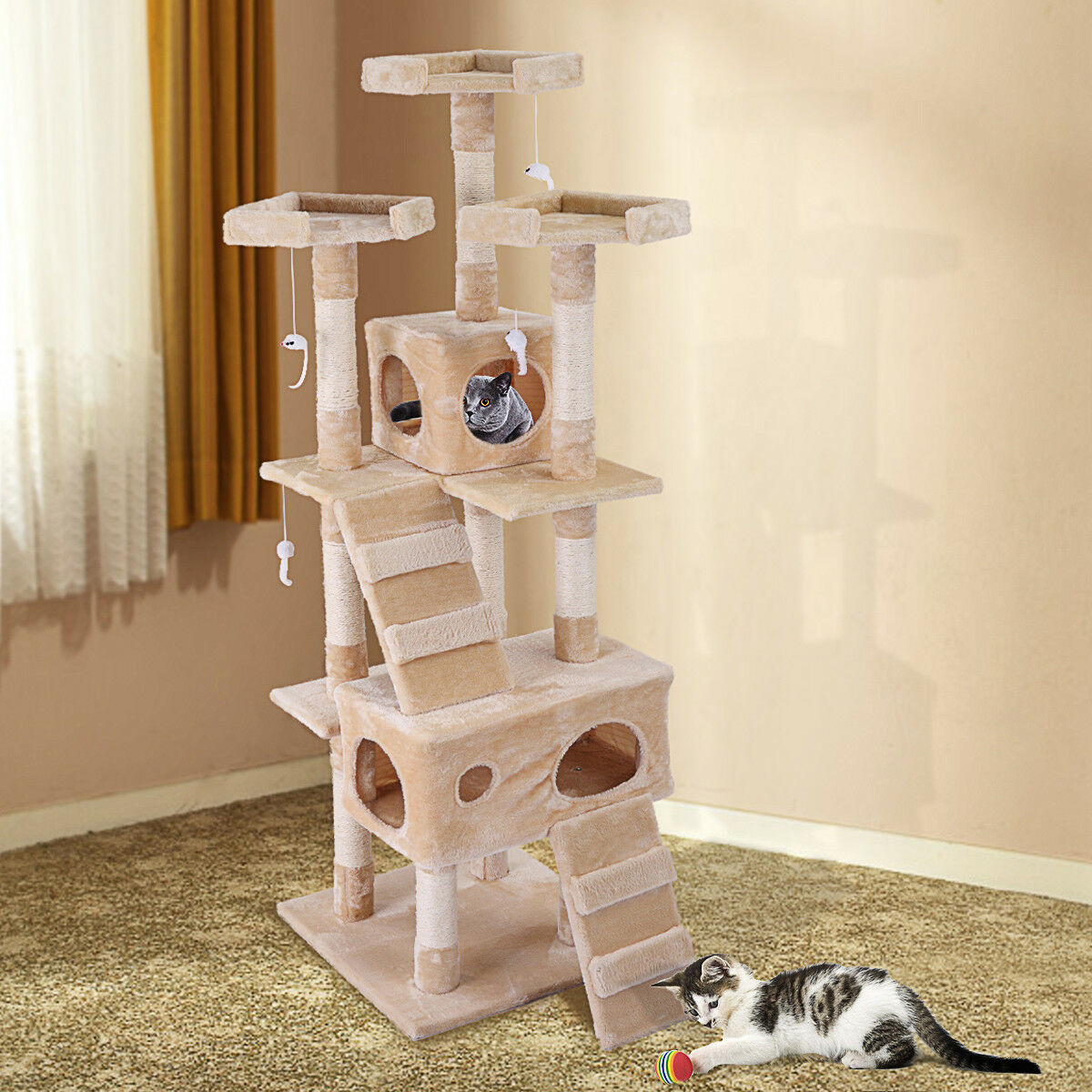 """67"""" Cat Tree Tower Condo Furniture Scratching Post Pet Kitty Play House"""
