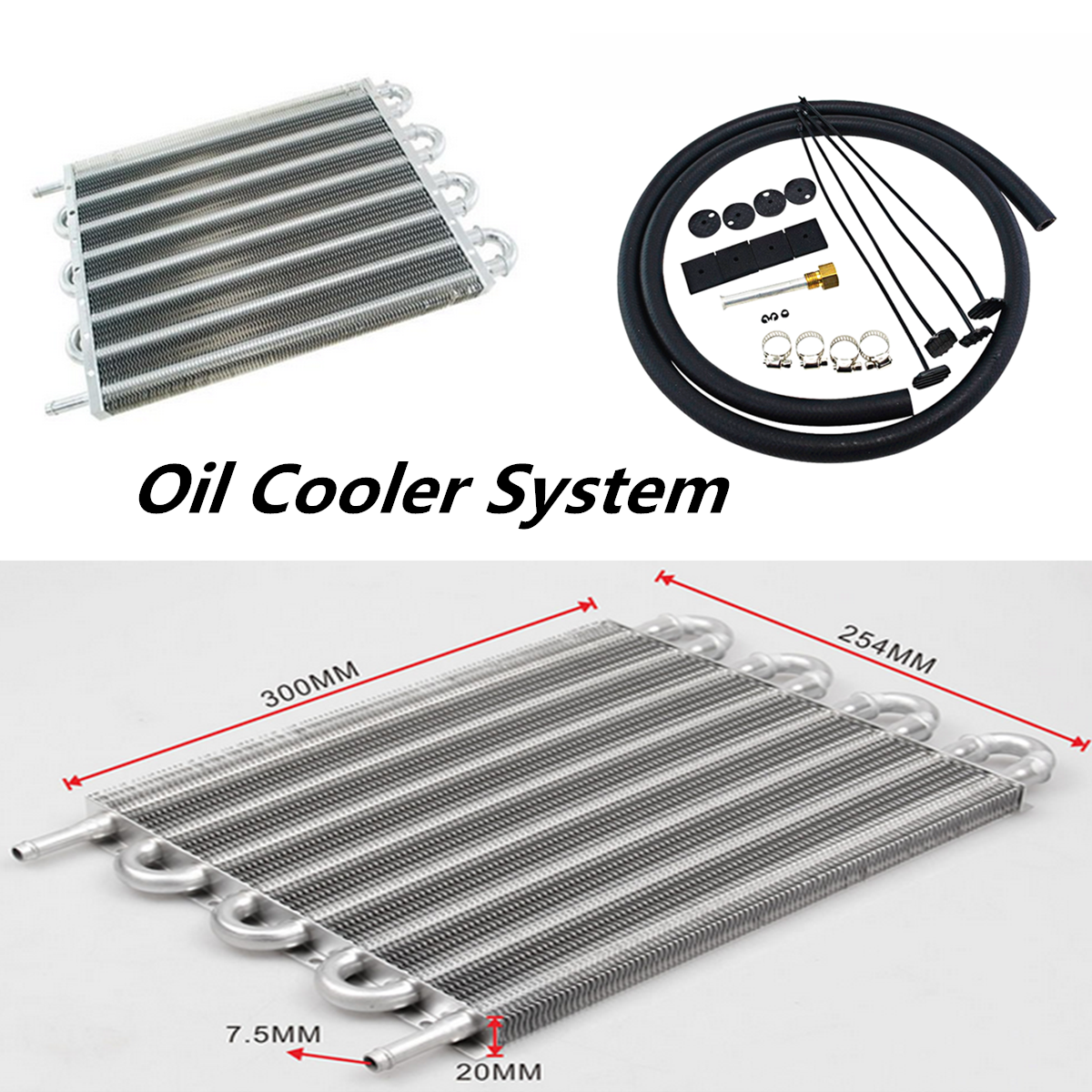8 Row Car Radiator Remote Aluminum Transmission Oil Cooler + Hose / Mo