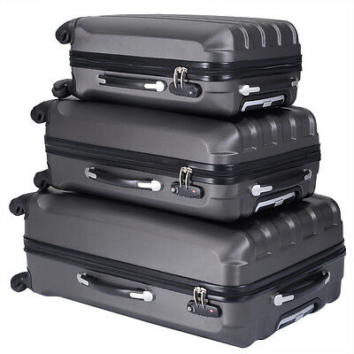 ECO 3 Pcs Luggage Travel Set Bag ABS Trolley Suitcase w/TSA lock 4 Wheels  Gray