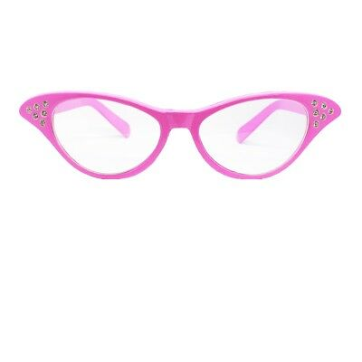 LADIES PINK FANCY DRESS GLASSES 50'S 1950S ROCK AND ROLL - 1950 Fancy Dress Kostüm