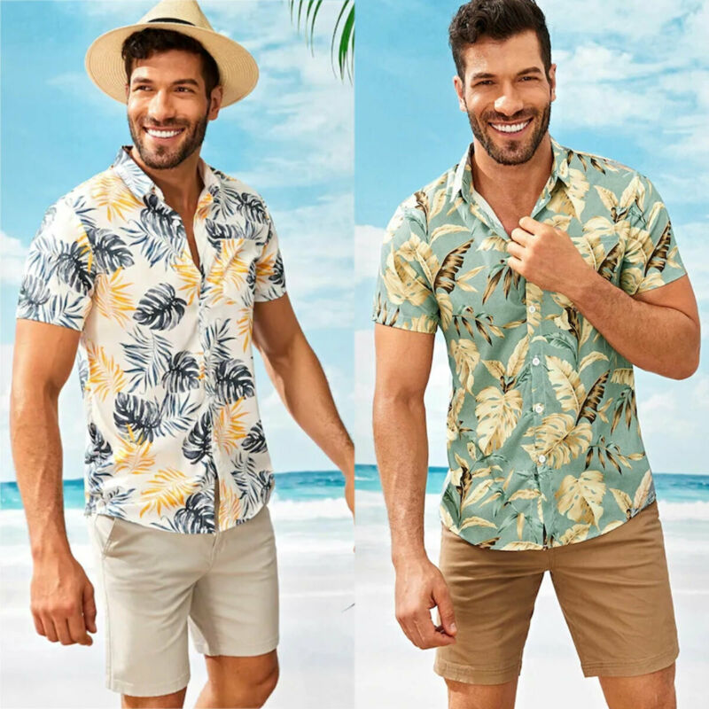 Herren Kurzarm Hawaiihemd Strand Party T-Shirt Freizeit Aloha Hemden Shirt Tops