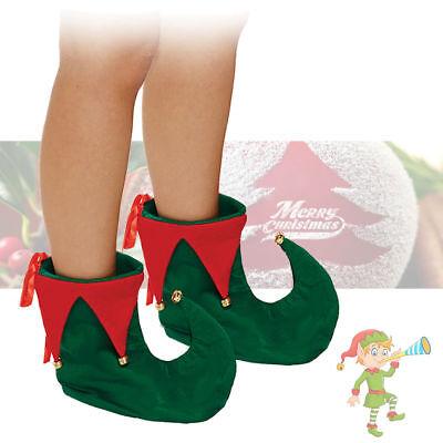 Deluxe Grüne und Rote Elf Stiefel Hofnarr Elfe Schuhe Weihnachten Kostüm - Elf Weihnachten Kostüm Schuhe