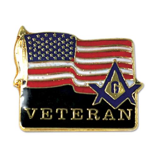Veteran Square & Compass American Flag Masonic Lapel Pin
