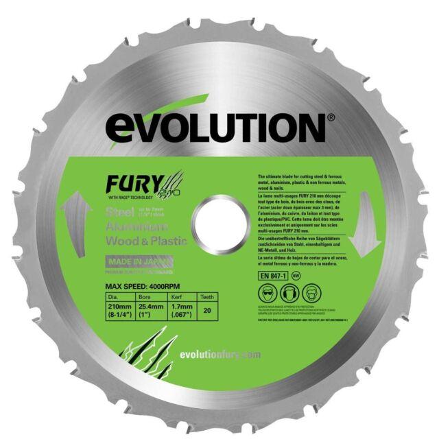 Evolution Fury Multipurpose Steel Aluminium Wood  High Grade Blade - 210 mm *NEW