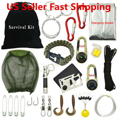 31Pcs Survival Kit Camping Outdoor Emergency Gear Tool Tactical Hiking
