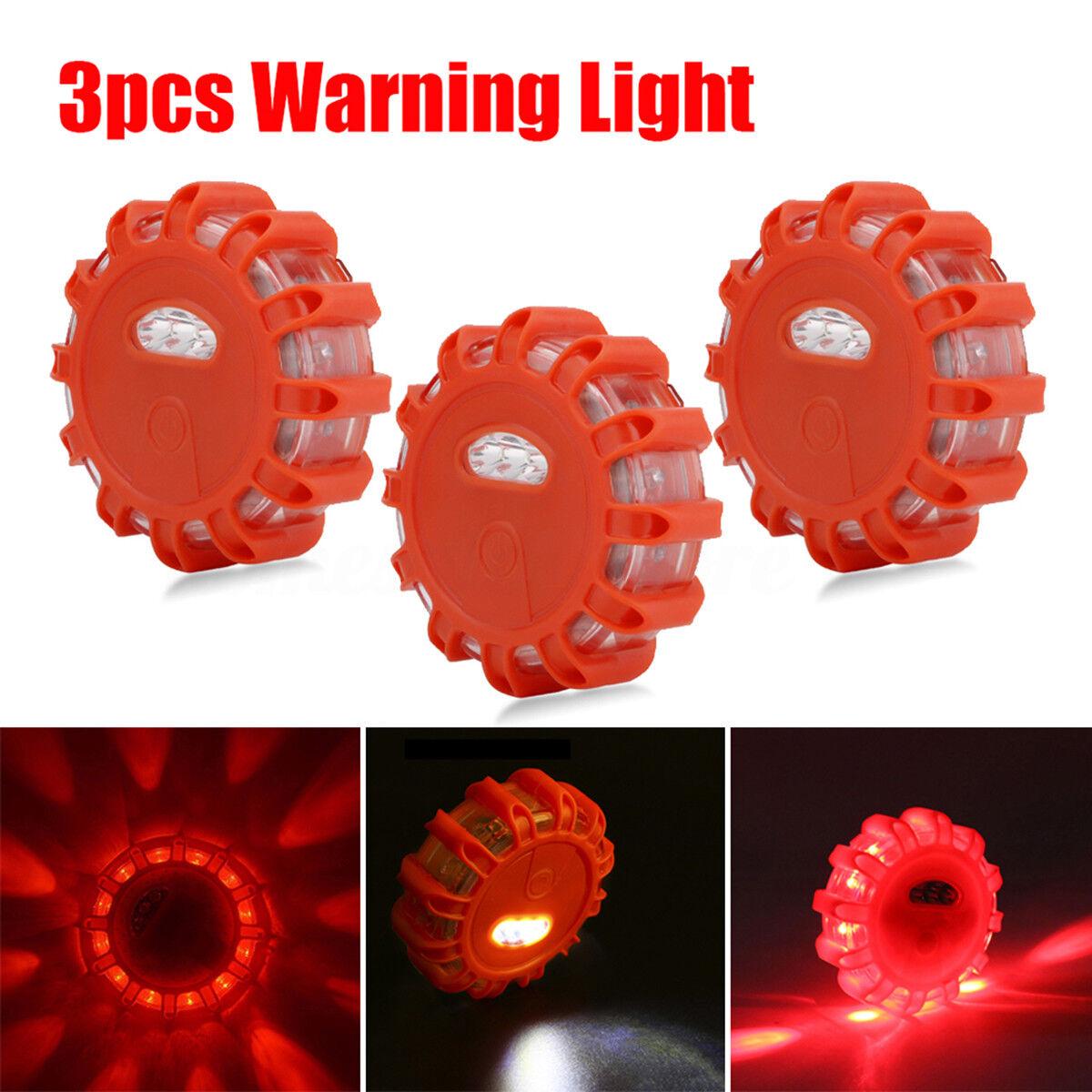 3Pack LED Road Flares Flashing Warning Roadside Safety Light for Car Truck NEW