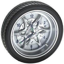 Clock 14 Tire Rim Gear Clock - AUTOMOTIVE COLLECTABLE With Real Rubber Tire