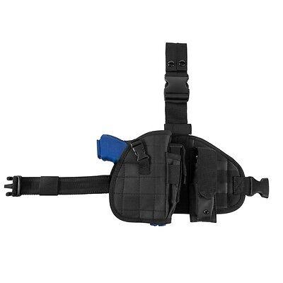 NcStar CVDLHOL2956B BLACK Drop Leg Universal MOLLE Panel Holster W/Mag Pouch Drop Leg Mag Pouch