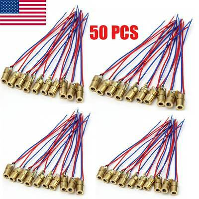 50pcs 650nm 6mm 5v 5mw Tube Laser Dot Diode Module Red Copper Head Mini Pointer