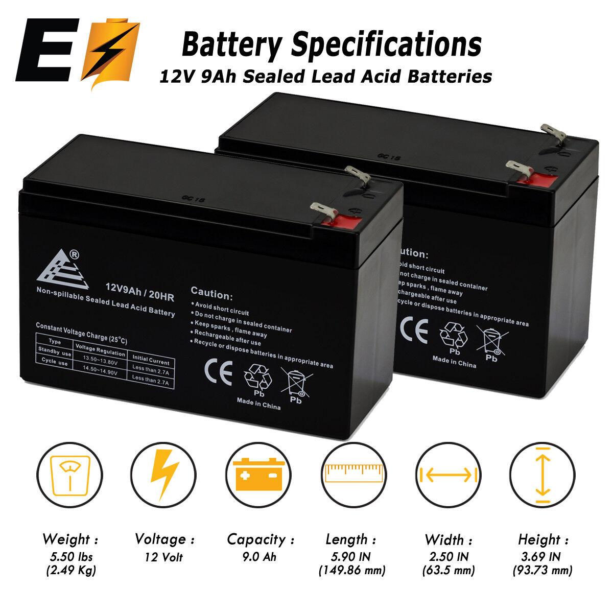 2 X 12V 9AH Battery for RAZOR Scooter E200 E300 ES300; Bella