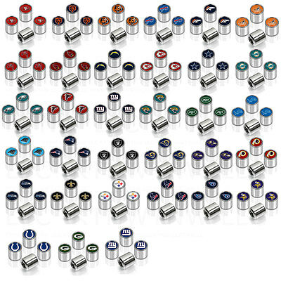 New NFL All Teams Car Truck SUV Van Plastic Chrome Finish Tire Valve Stem Caps